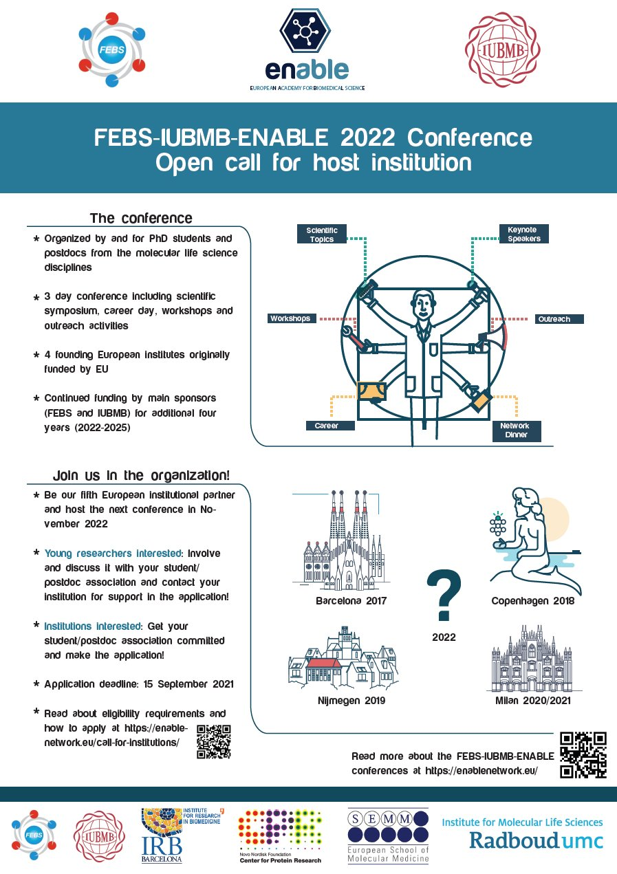 FEBS-IUBMB-ENABLE 2022 Conference Open call for host institution